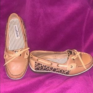 Camel Boatshoes with sequin leopard embellishment